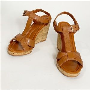 Cole Haan Ayla Wedge Leather Sandals Tan Size 7